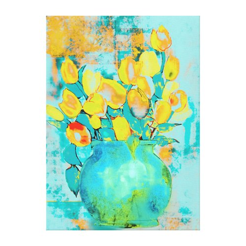 Yellow Tulips in Blue Vase Watercolor Canvas Print