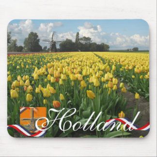 Yellow Tulips in Field Dutch Windmill Holland Mouse Pad
