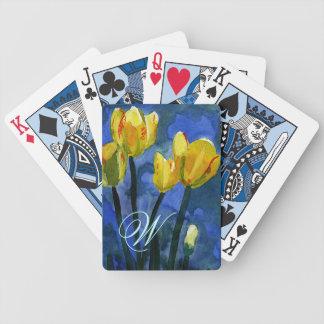 Yellow Tulips Monogram Poker Cards