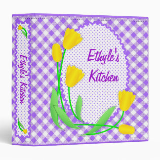 Yellow Tulips on Purple Gingham Kitchen Binder