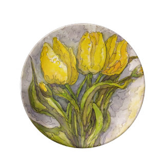 Yellow Tulips – Porcelain Plate