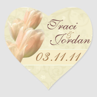 yellow tulips save the date heart sticker