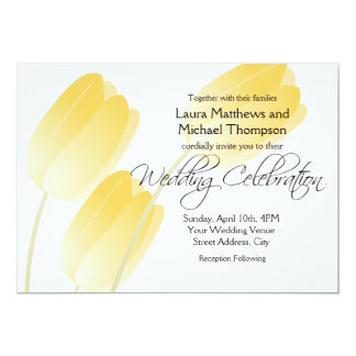 Yellow Tulips Spring Floral Wedding Card