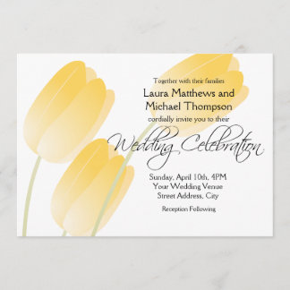 Yellow Tulips Spring Floral Wedding Invitation