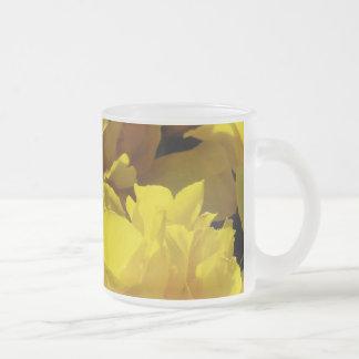Yellow Tulips Through Sunbeams Frosted Glass Coffee Mug