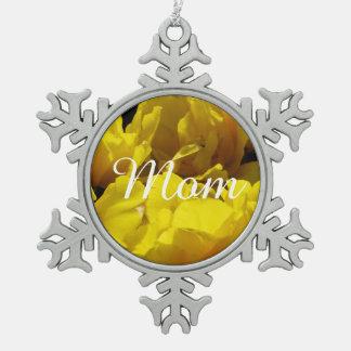 Yellow Tulips Through Sunbeams Snowflake Pewter Christmas Ornament