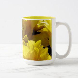 Yellow Tulips Through Sunbeams Two-Tone Coffee Mug