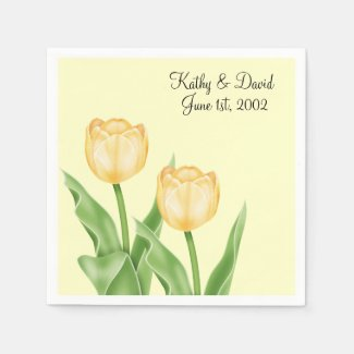Yellow Tulips (Wedding) Disposable Napkins