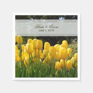 Yellow Tulips Wedding Paper Napkins