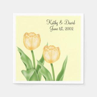 Yellow Tulips Wedding Disposable Napkins