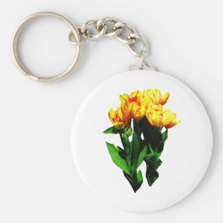 Yellow Tulips With Red Stripes Key Chains