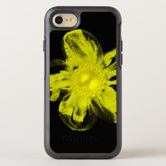 Yellow tulle flower on black OtterBox symmetry iPhone 7 case