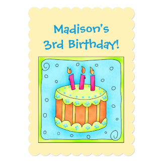 Yellow Turquoise 3rd Birthday Party Invitation