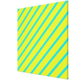 Yellow Turquoise Angled Stripes Wrapped Canvas
