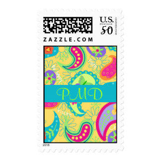 Yellow Turquoise Blue Modern Paisely Monogram Postage