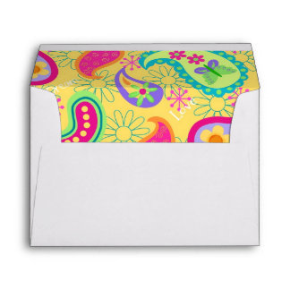 Yellow Turquoise Blue Modern Paisely Pattern Envelope