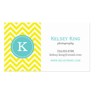 Yellow & Turquoise Chevron Custom Monogram Double-Sided Standard Business Cards (Pack Of 100)