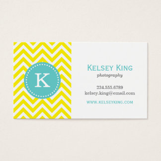 Yellow & Turquoise Chevron Custom Monogram Business Card
