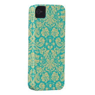 Yellow Turquoise Floral Damask Lace iPhone 4s Case