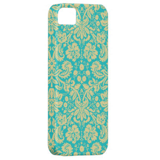 Yellow Turquoise Floral Damask Lace iPhone 5s Case iPhone 5 Case
