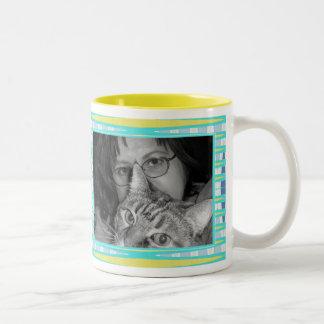yellow turquoise  frame Two-Tone coffee mug
