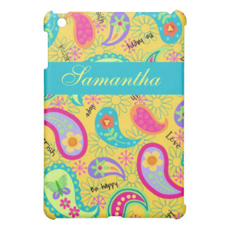 Yellow Turquoise Modern Paisley Pattern Case For The iPad Mini