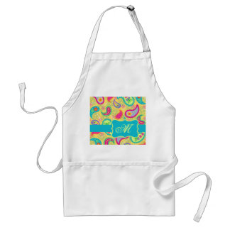 Yellow Turquoise Modern Pasley Pattern Monogram Adult Apron