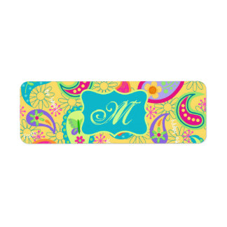 Yellow Turquoise Modern Pasley Pattern Monogram Label