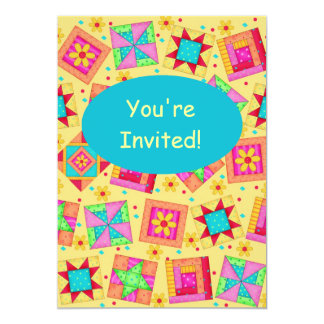 Yellow & Turquoise Patchwork Quilt Block Art 5x7 Paper Invitation Card