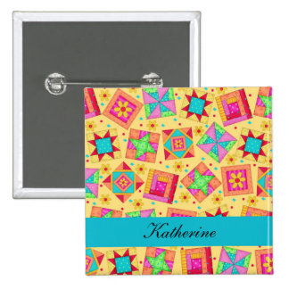 Yellow Turquoise Patchwork Quilt Blocks Name Badge 2 Inch Square Button