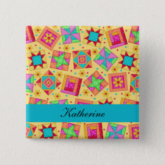 Yellow Turquoise Patchwork Quilt Blocks Name Badge Button