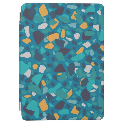 Yellow turquoise terrazzo pattern iPad air cover