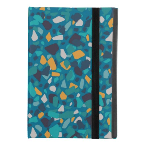 Yellow turquoise terrazzo pattern iPad mini 4 case