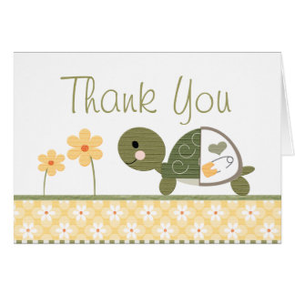 Yellow Turtle in Diapers Baby Shower Thank You Stationery Note Card