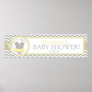 Yellow Tutu Chevron Print Baby Shower Banner