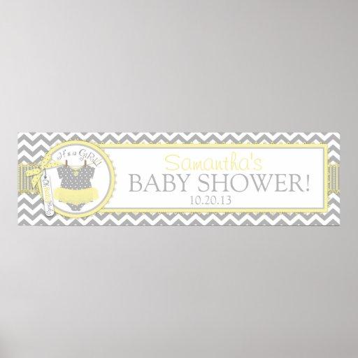 Yellow Tutu & Chevron Print Baby Shower Banner
