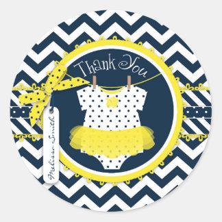 Yellow Tutu Chevron Print Baby Shower Round Sticker