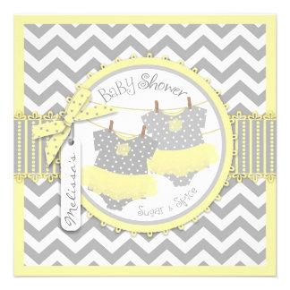 Yellow Tutu Chevron Print Twin Girls Baby Shower Personalized Announcement