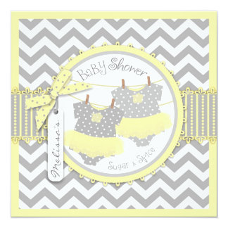 Yellow Tutu & Chevron Print Twin Girls Baby Shower Personalized Announcement