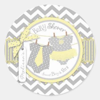 Yellow Tutu Tie Chevron Print Twins Baby Shower Round Sticker