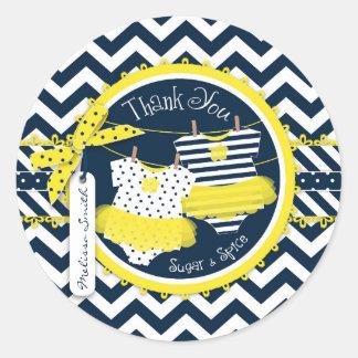 Yellow Tutus Chevron Print Baby Shower Stickers