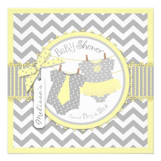 Yellow Tutus Chevron Twin Boy Girl Baby Shower Custom Invites