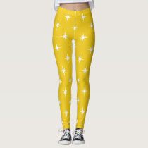 yellow twinkles sparkles all over printed leggings