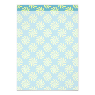 Yellow twirls on blue background card