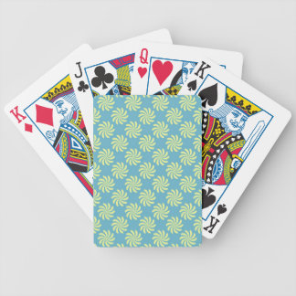 Yellow twirls on blue background bicycle card deck