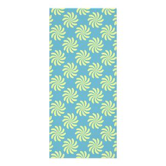 Yellow twirls on blue background rack card