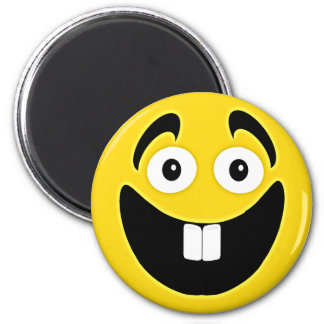 Yellow Two Front Teeth Smiley Face 2 Inch Round Magnet