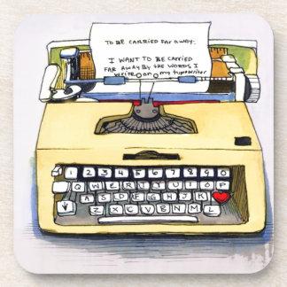 Yellow Typewriter Beverage Coaster