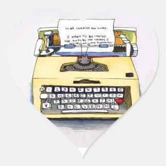Yellow Typewriter Heart Sticker
