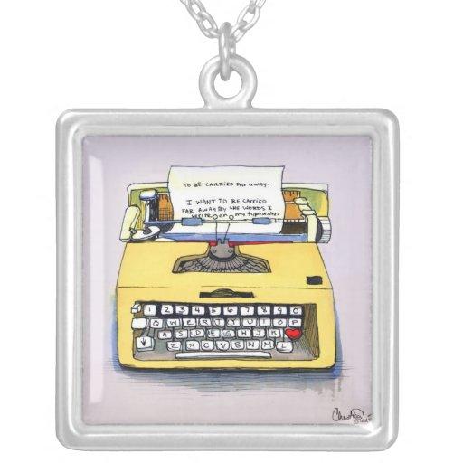 Yellow Typewriter Necklace